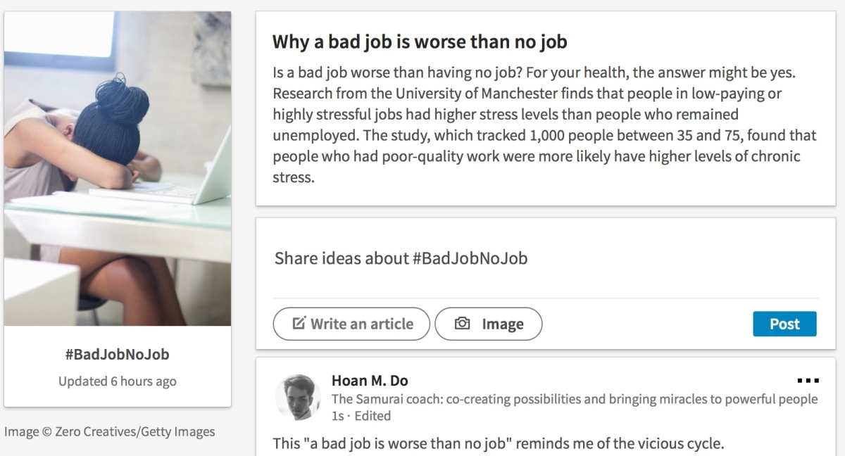 Why a bad job is worse than no job