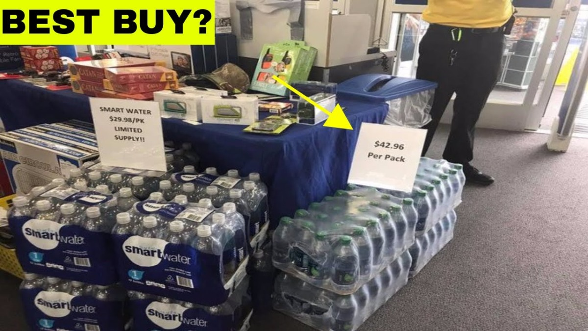 What not to do in a natural disaster? $42.96 per a pack of bottled water at BestBuy